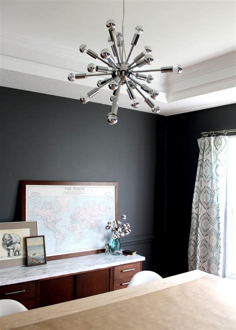modern dark grey dining room makeover paint color
