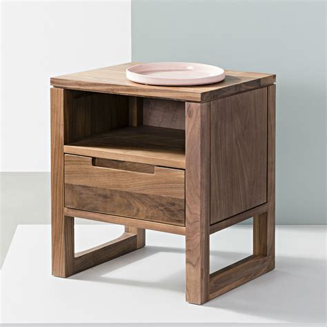 bedside desk bruno 1 drawer solid walnut bedside table icon by design