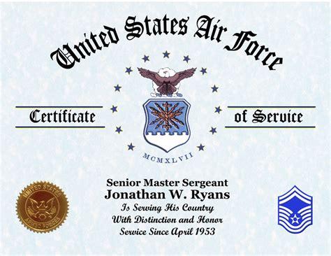 air force veterans certificate  service displays awards