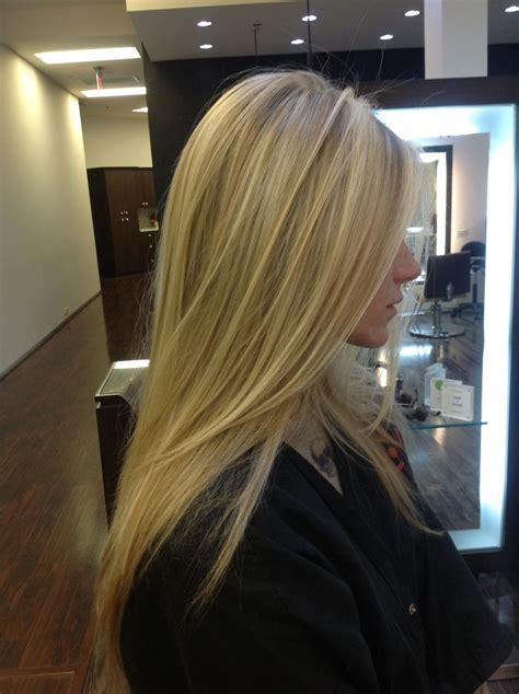 blonde pattern matching highlights   long layered cut
