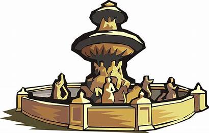 Fountain Clipart Water Graphic Statue Antique Clipground