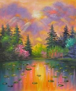 Tableau Peinture Moderne : peinture moderne paysage sur toile tableau peint huile ~ Teatrodelosmanantiales.com Idées de Décoration