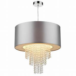 Lopez easy fit non electric silver faux silk ceiling shade