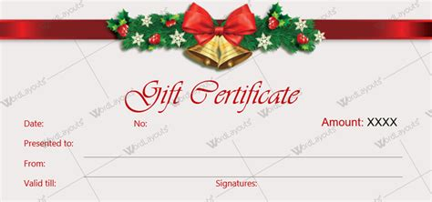 Printable gift certificate template word