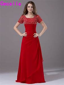 2017 red long modest bridesmaid dresses with short sleeves With long red dresses for weddings