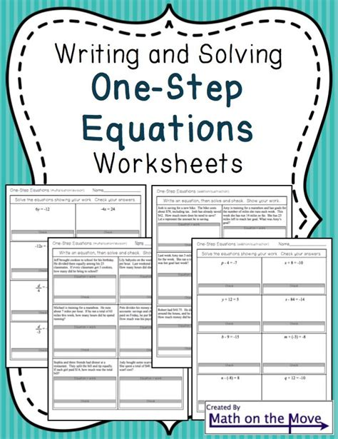 One Step Equations With Fractions Multiplication Worksheet  Algebra Equations Two Step