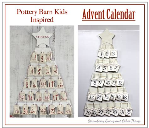 pottery barn advent calendar strawberry swing and other things diy pottery barn