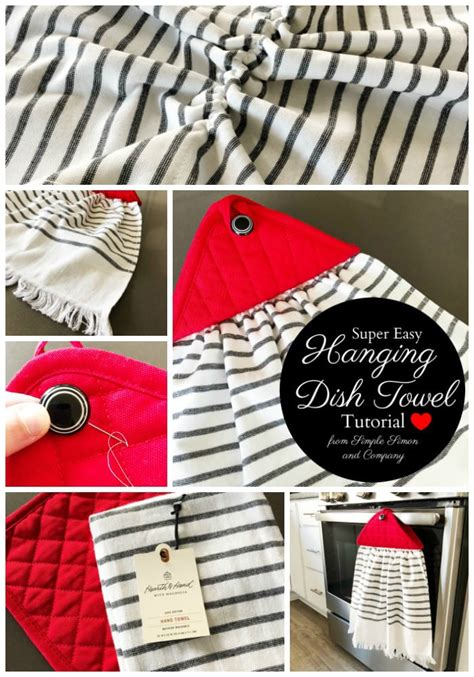 farmhouse style hanging kitchen towel tutorial  polka