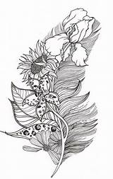 Coloring Feather Adult Tattoo Pages Stencils Tattoos Feathers Adults Designs Books Leaf Blackwork Awesome Mandala Drawings Printable Stencil Leaves Crafts sketch template