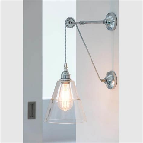 unique industrial clear glass shade pulley wall light