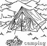 Coloring Camping Printable Tent Sheets Tourist Campfire Ausmalbilder Template Malvorlagen Kinder Zelt Chakiradecor Jobs sketch template