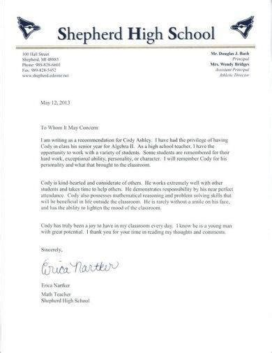 student recommendation letter examples  examples