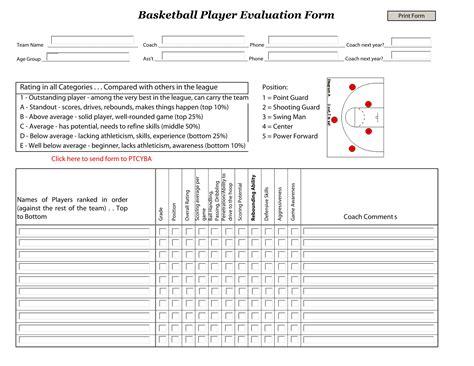 varieties  sports evaluation forms