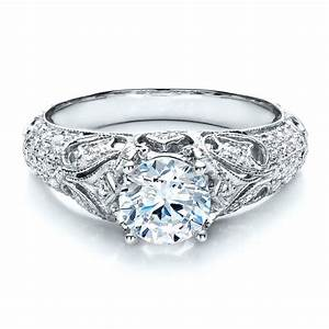 engagement ring with micro pave milgrain filigree With micro pave wedding ring