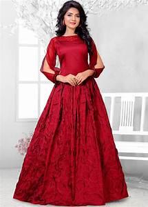 Readymade Maroon Art Silk Indo Western Gown Indo Western 143GW06