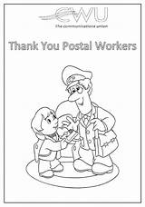 Colouring Sheets Postal Thank Cwu Workers sketch template