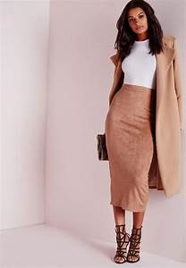 Longline Faux Suede Midi Skirt Camel | Missguided