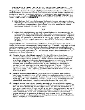 printable executive summary template forms fillable