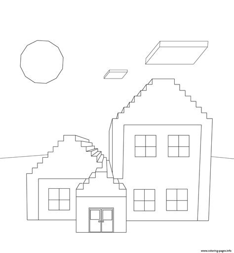 minecraft house coloring pages printable