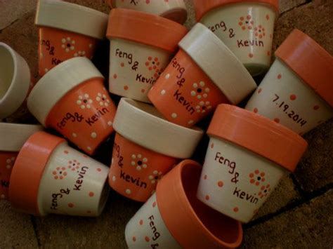 painted flower pot wedding favors small