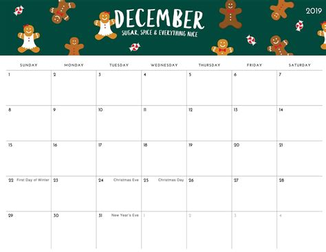 daily calendar  december  template printable