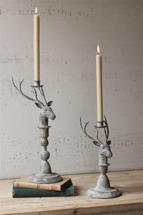 set metal deer taper candle holders