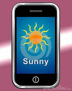 Mobile Phone Shows Sunny Weather Forecast Royalty Free ...