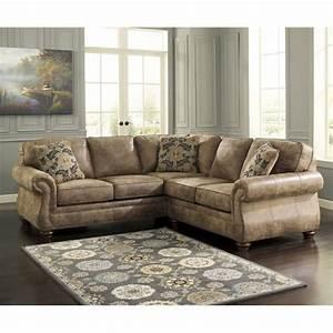 ashley larkinhurst 2 piece faux leather sectional in earth With faux leather sectional sofa ashley