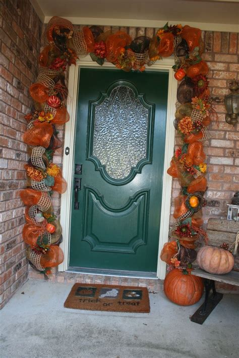 fall deco mesh door garland fall decorations pinterest