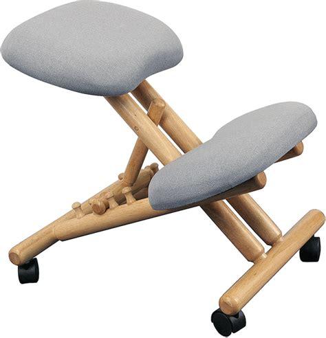 wooden kneeling chair silver seat oak base