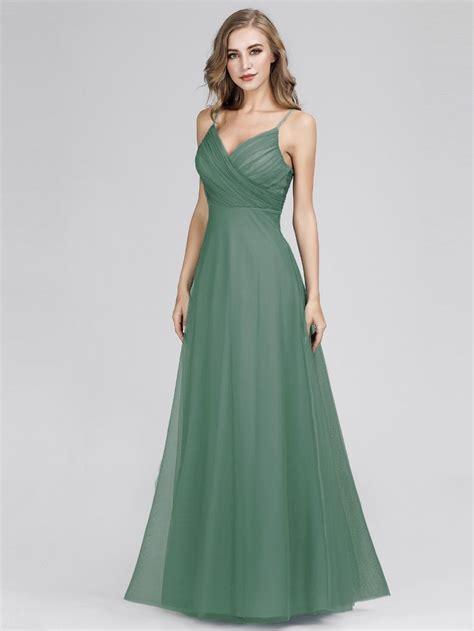 Spaghetti Strap V Neck Maxi Long Tulle Bridesmaid Dresses ...