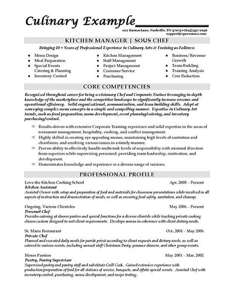 Kitchen Manager Resume Objective by Sous Chef Resume Exle
