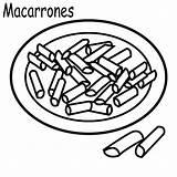 Coloring Macaroni Cheese Para Macarrones Colouring Colorear Template sketch template