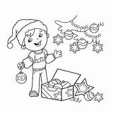 Coloring Christmas Tree Cartoon Outline Boy Decorating Gifts Vector Ornaments Fo Illustration Shutterstock sketch template