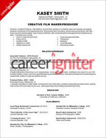 Producer Resume Template by Producer Resume Sle Resume Resume