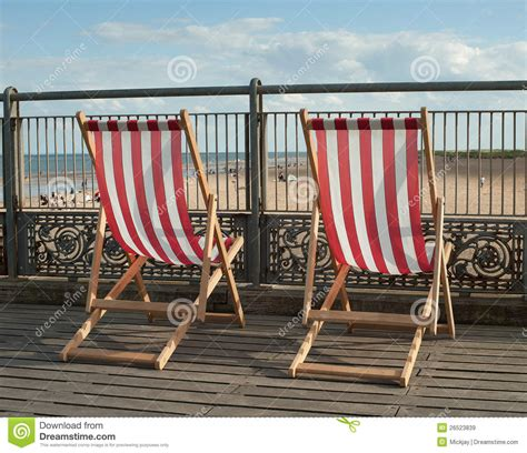 deck chairs on pier royalty free stock images image