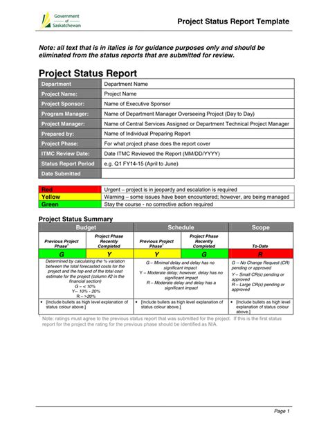 project monthly status report template  word   formats