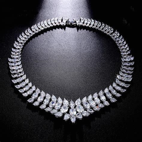 cubic zirconia statement necklace bridal jewelry