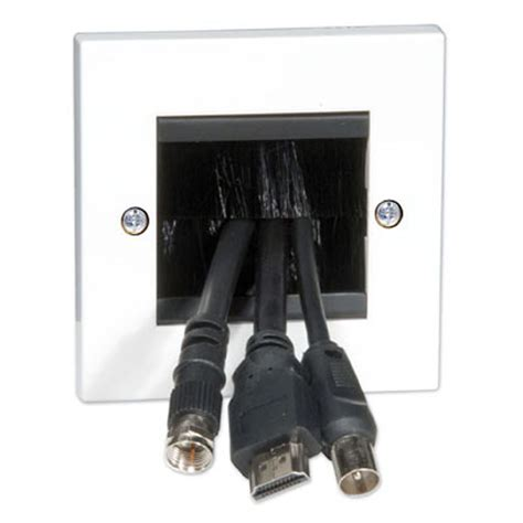 passe cable tv mural euro2gbr 2 module wide cable entry exit plate single width