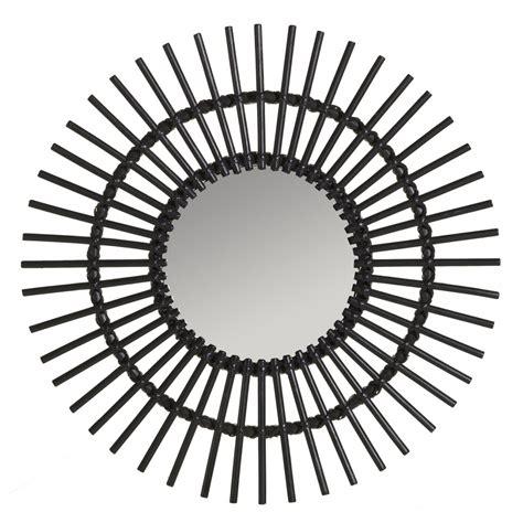miroir en rotin miroir rotin laqu 233 noir vintage soleil miroir rotin kok maison
