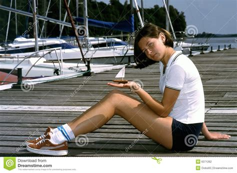 Girls On Boats by Girl With A Little Sailing Boat Stock Photo Image 6371262