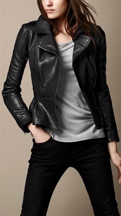 Leather Jacket Peplum Biker Burberry Jackets Blazer