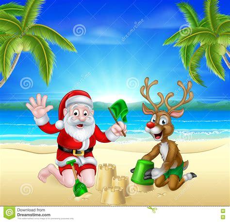 christmas santa and reindeer on summer beach stock vector