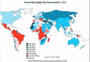 Annual, per capita, tea consumption, 2009 [1033x716] : MapPorn