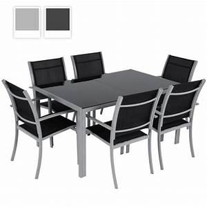 Salon De Jardin Gris Clair : miadomodo salon de jardin terrasse 6 chaises et 1 table structure en acier gris clair ~ Teatrodelosmanantiales.com Idées de Décoration