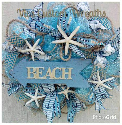 Beach Themed Wreath Starfish Wreath Nautical Mesh Wreath