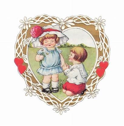 Valentine Clip Card Victorian Heart Greeting Valentines