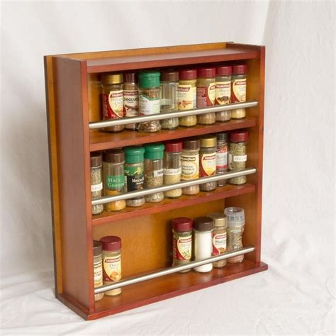 Wooden Spice Racks Uk by Wooden Spice Rack Closed Top 3 Tiers Stainless Steel