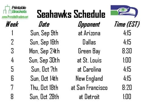 seahawks schedule seattle seahawks schedule printable