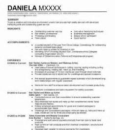 Hair Stylist Resume Summary Exles best hair stylist resume exle livecareer